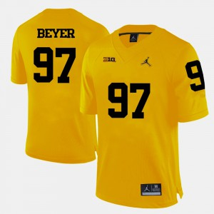 For Men's #97 Brennen Beyer Michigan Jersey Yellow College Football 530599-823