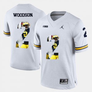 For Men's #2 Player Pictorial White Charles Woodson Michigan Jersey 147176-867