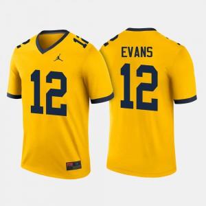 #12 Men Chris Evans Michigan Jersey College Football Maize 875440-209