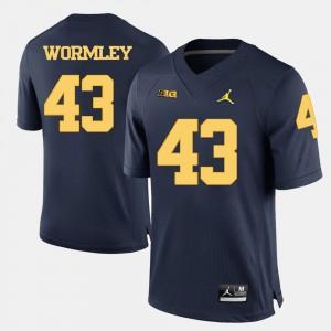 Navy Blue Chris Wormley Michigan Jersey #43 College Football Mens 923915-894