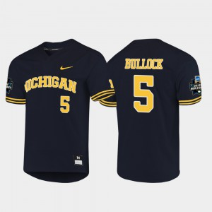 2019 NCAA Baseball College World Series Christan Bullock Michigan Jersey Navy #5 Mens 682766-539