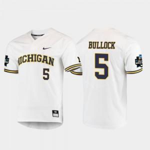 Christan Bullock Michigan Jersey For Men White #5 2019 NCAA Baseball College World Series 778205-803