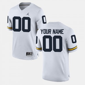 For Men's Michigan Customized Jersey White College Limited Football #00 852181-870