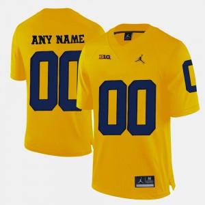 Yellow For Men College Limited Football #00 Michigan Custom Jerseys 406561-629