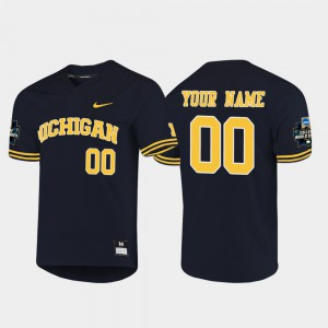 #00 Michigan Custom Jersey 2019 NCAA Baseball College World Series Mens Navy 903464-234