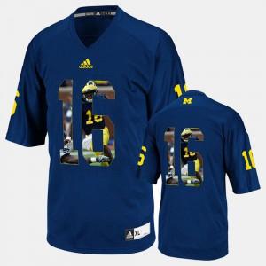 Denard Robinson Michigan Jersey Navy Blue Player Pictorial Men #16 973807-449