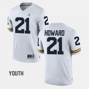 #21 White Youth desmond Howard Michigan Jersey College Football 711122-803