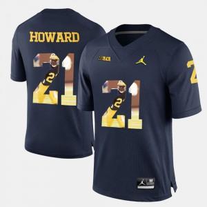 Navy Blue For Men Player Pictorial #21 Desmond Howard Michigan Jersey 378800-551
