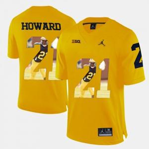 For Men's Player Pictorial #21 Yellow Desmond Howard Michigan Jersey 178977-992