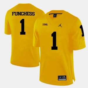 For Men's College Football #1 Yellow Devin Funchess Michigan Jersey 678570-252