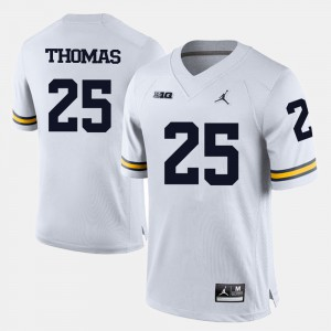 Mens #25 College Football Dymonte Thomas Michigan Jersey White 840015-286