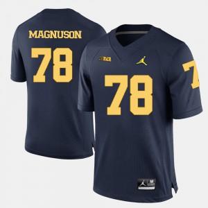 College Football Navy Blue For Men Erik Magnuson Michigan Jersey #78 971500-795