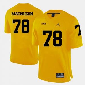 College Football #78 Mens Erik Magnuson Michigan Jersey Yellow 325052-686