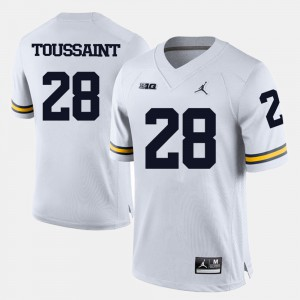 College Football #28 For Men's Fitzgerald Toussaint Michigan Jersey White 344077-167