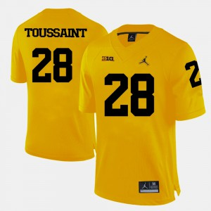 For Men's Yellow College Football #28 Fitzgerald Toussaint Michigan Jersey 710782-826