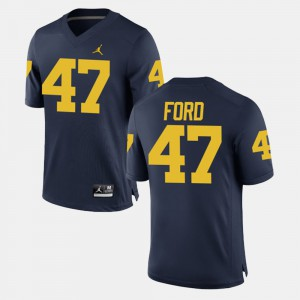 For Men's #47 Gerald Ford Michigan Jersey Alumni Football Game Navy 361426-721