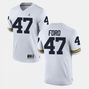 Mens #47 Alumni Football Game White Gerald Ford Michigan Jersey 817215-172