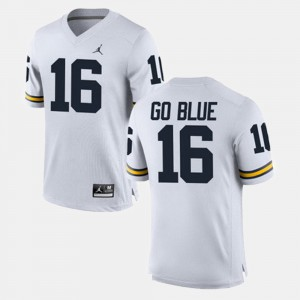 #16 GO BLUE Michigan Jersey Alumni Football Game White For Men's 138538-918