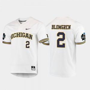 White #2 2019 NCAA Baseball College World Series Men Jack Blomgren Michigan Jersey 726511-407