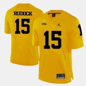 Yellow For Men's College Football Jake Rudock Michigan Jersey #15 256828-393