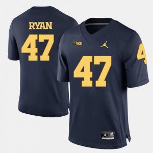 Navy Blue Jake Ryan Michigan Jersey #47 College Football Men 270089-422