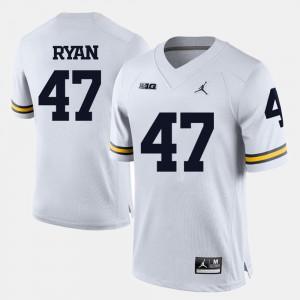 College Football #47 Jake Ryan Michigan Jersey Men White 976565-494