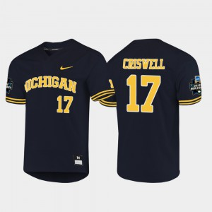 Navy 2019 NCAA Baseball College World Series For Men's #17 Jeff Criswell Michigan Jersey 190840-518