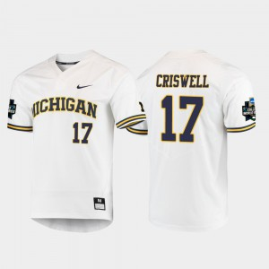 Jeff Criswell Michigan Jersey #17 For Men's White 2019 NCAA Baseball College World Series 361664-607