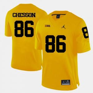 College Football Jehu Chesson Michigan Jersey Yellow Men #86 197431-135