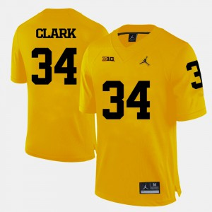 Yellow Jeremy Clark Michigan Jersey #34 College Football For Men's 135971-426