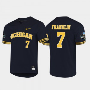 Navy 2019 NCAA Baseball College World Series Jesse Franklin Michigan Jersey #7 For Men 491145-904