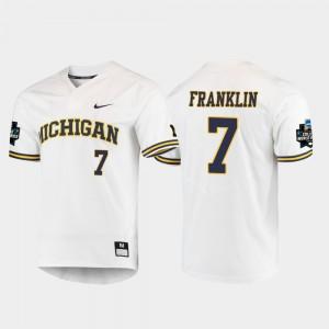 Mens 2019 NCAA Baseball College World Series White #7 Jesse Franklin Michigan Jersey 525422-363