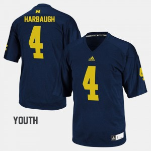For Kids Jim Harbaugh Michigan Jersey Navy #4 College Football 317608-725