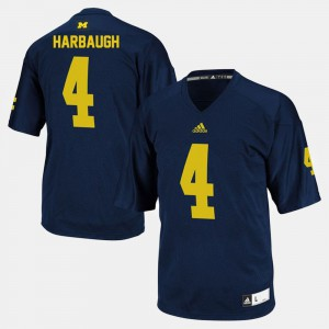 #4 College Football Jim Harbaugh Michigan Jersey For Men's Navy 130566-642