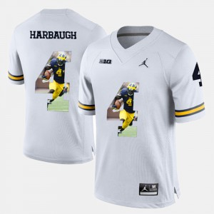 #4 White Jim Harbaugh Michigan Jersey Player Pictorial Mens 949010-264