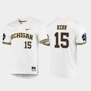 Jimmy Kerr Michigan Jersey White 2019 NCAA Baseball College World Series #15 Men's 573998-587