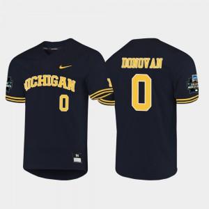 2019 NCAA Baseball College World Series Navy For Men Joe Donovan Michigan Jersey #0 549186-508