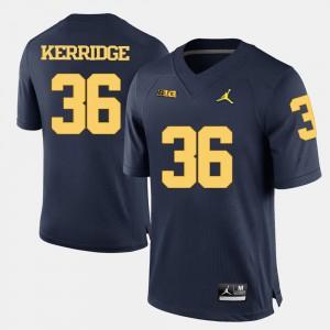Navy Blue College Football Mens #36 Joe Kerridge Michigan Jersey 833016-142