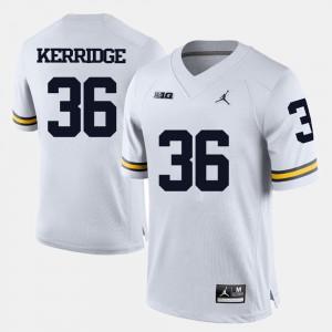 College Football White Joe Kerridge Michigan Jersey For Men #36 700429-710