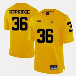 College Football For Men #36 Joe Kerridge Michigan Jersey Yellow 719356-258
