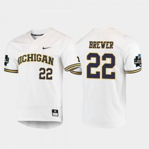 2019 NCAA Baseball College World Series Jordan Brewer Michigan Jersey White Men's #22 654197-190