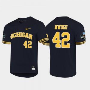#42 Navy Mens Jordan Nwogu Michigan Jersey 2019 NCAA Baseball College World Series 359604-387