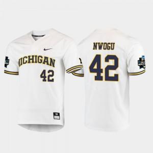 #42 2019 NCAA Baseball College World Series Jordan Nwogu Michigan Jersey Men's White 307694-699