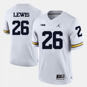 White For Men's College Football Jourdan Lewis Michigan Jersey #26 599477-863