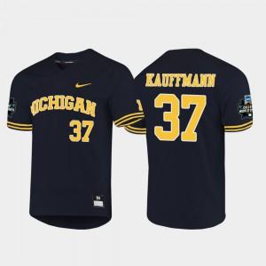 Karl Kauffmann Michigan Jersey #37 Navy 2019 NCAA Baseball College World Series Men 184772-831