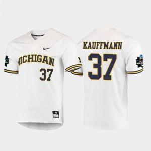Karl Kauffmann Michigan Jersey White #37 Men's 2019 NCAA Baseball College World Series 867487-766