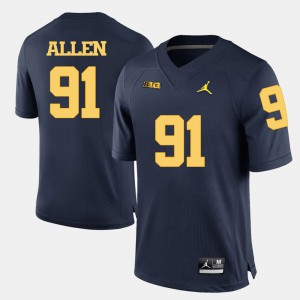 Navy Blue Kenny Allen Michigan Jersey Men #91 College Football 638052-203