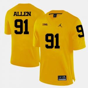 Yellow College Football Kenny Allen Michigan Jersey Men's #91 377324-764