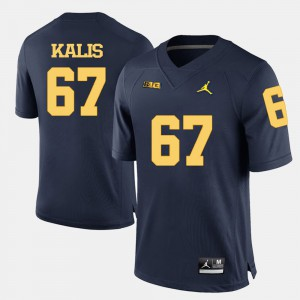 #67 Navy Blue College Football Kyle Kalis Michigan Jersey Men 279234-420