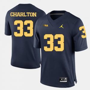 Navy Blue For Men College Football #33 Taco Charlton Michigan Jersey 435946-395